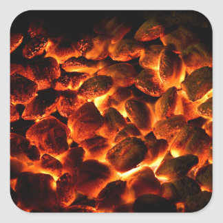 Red Hot Burning Coals Square Sticker