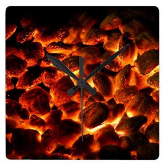 Red Hot Burning Coals Square Wall Clock