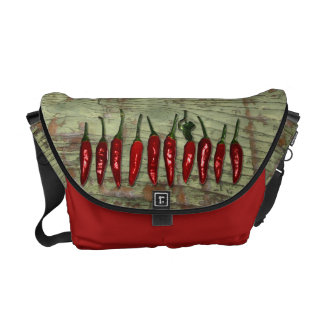 Red Hot Chili Peppers Vintage Green Wood Look Commuter Bag
