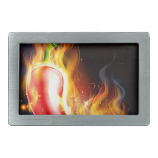 Red Hot Chilli Pepper on Fire Belt Buckles