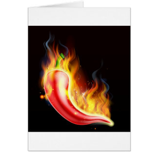 Red Hot Chilli Pepper on Fire Card