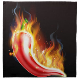 Red Hot Chilli Pepper on Fire Napkin