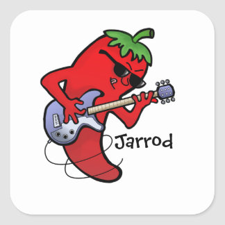 Red Hot Chilli Rocker Square Sticker
