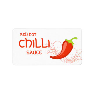 Red Hot Chilli Sauce Pepper Label