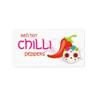 Red Hot Chilli Sauce Pepper Skull Label