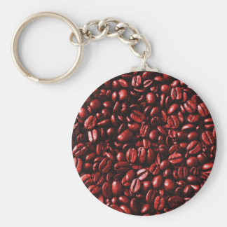 Red Hot Coffee Beans Basic Round Button Keychain