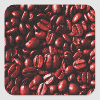 Red Hot Coffee Beans Square Sticker