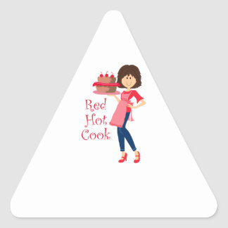 RED HOT COOK TRIANGLE STICKER