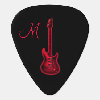 Red Hot Electric Guitar Monogram Guitar Pick