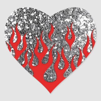 Red Hot Flames on Silver Glitter Look Heart Sticker
