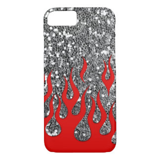 Red Hot Flames on Silver Glitter Look iPhone 7 Case