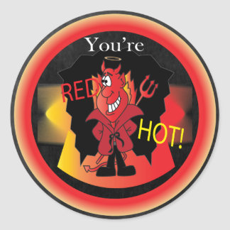 Red Hot Halloween Devil Round Sticker