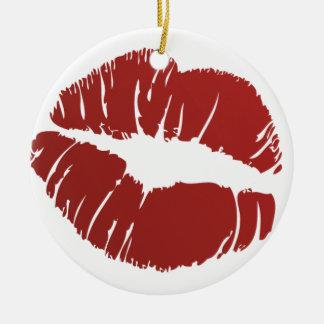 Red Hot Kiss Round Ceramic Ornament