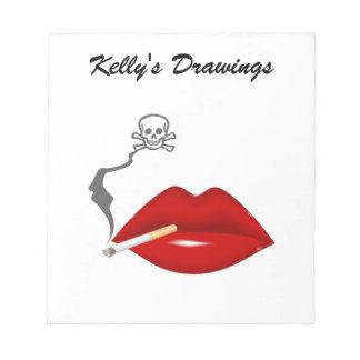 Red Hot Lips Cigarette Skull Smoke Notepads
