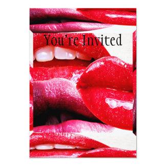 Red Hot Lipstick Lips 5x7 Paper Invitation Card