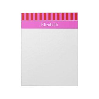Red, Hot Pink Stripe Hot Pink Name Monogram Notepad