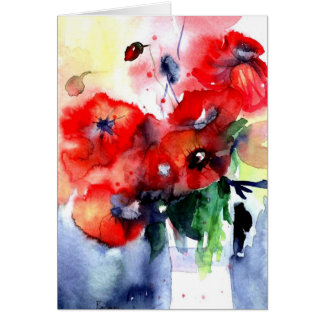 red hot poppies card