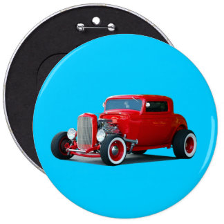 red hot rod car 6 inch round button