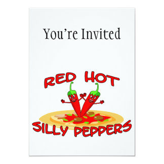 """Red Hot Silly Peppers 5"""" X 7"""" Invitation Card"""