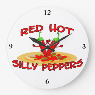 Red Hot Silly Peppers Large Clock