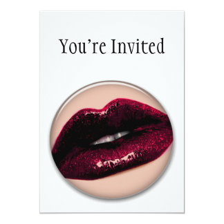 Red Hot Sparkling Kissable Lips 5x7 Paper Invitation Card