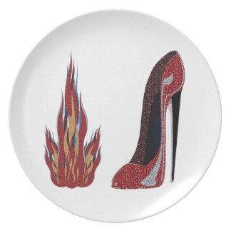 Red Hot Stiletto Shoe Art Plate