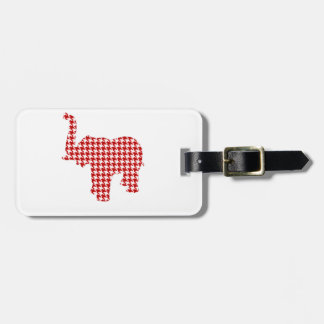 Red Houndstooth Elephant Luggage Tag