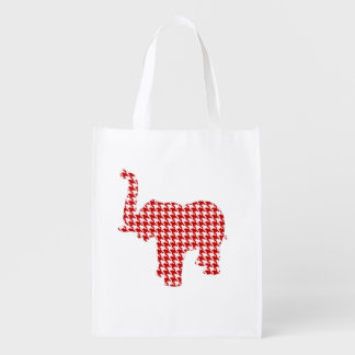 Red Houndstooth Elephant Reusable Grocery Bag