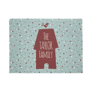 Red house and the bird custom family doormat