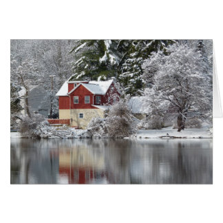 Red House on Lake in Winter Blank Photo Card