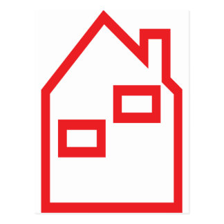 red house real estate icon post card