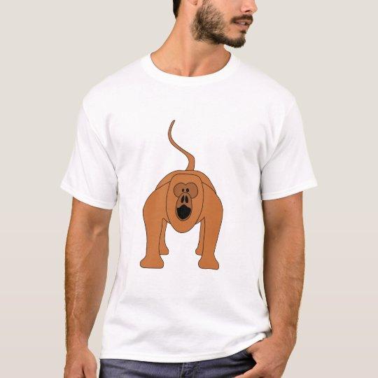 Red Howler Monkey Cartoon T-Shirt