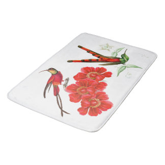 Red Hummingbird Birds Wildlife Flowers Bath Mat
