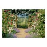 Red Hybrid Rose-Lined Path To Gate, Underplanted W Poster