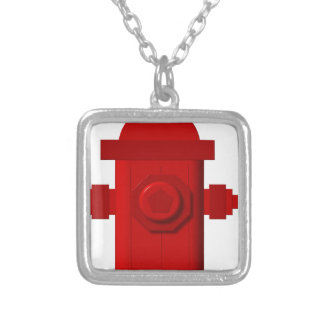 red hydrant items silver plated necklace