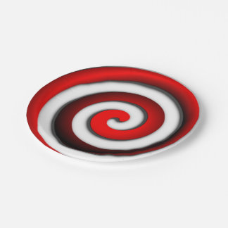 Red Hypnotic Spiral Paper Plate