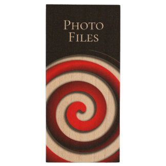 Red Hypnotic Spiral Wood USB Flash Drive