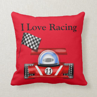 "Red ""I Love Racing"" Throw Pillow w/Race Car & Flag"