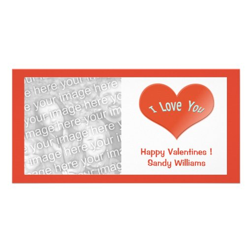 red i love you  heart photo card template