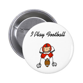 Red I Play Football 2 Inch Round Button