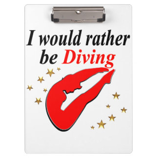 RED I WOULD RATHER BE DIVING INSPIRATIONAL DESIGN CLIPBOARD