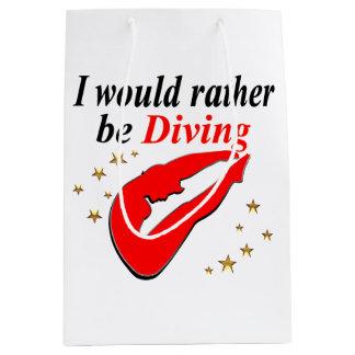 RED I WOULD RATHER BE DIVING INSPIRATIONAL DESIGN MEDIUM GIFT BAG