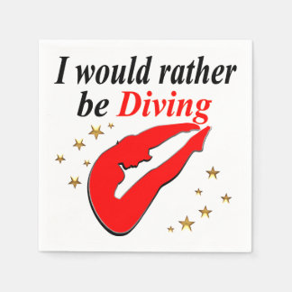 RED I WOULD RATHER BE DIVING INSPIRATIONAL DESIGN PAPER NAPKINS