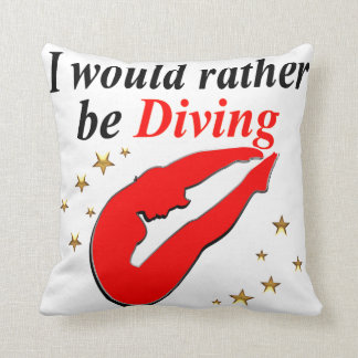 RED I WOULD RATHER BE DIVING INSPIRATIONAL DESIGN THROW PILLOW