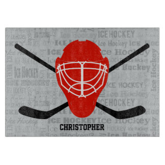 Red Ice Hockey Helmet and Sticks Typography Cutting Board