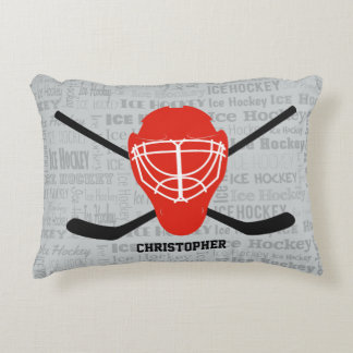 Red Ice Hockey Helmet and Sticks Typography Decorative Pillow