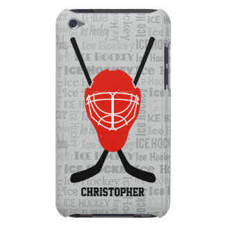 Red Ice Hockey Helmet and Sticks Typography iPod Touch Cases