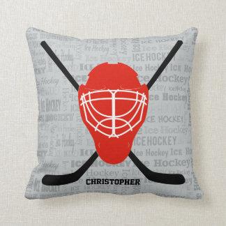 Red Ice Hockey Helmet and Sticks Typography Pillow
