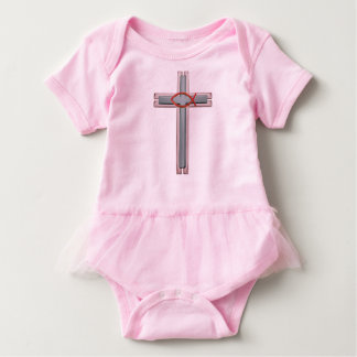 Red Ichthus Cross Baby Bodysuit