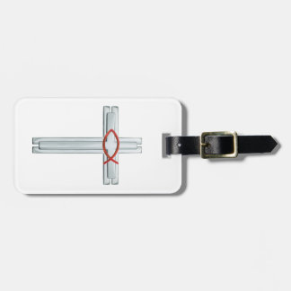 Red Ichthus Cross Luggage Tag